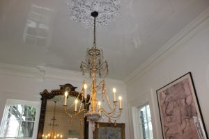 Fine Paints of Europe High-Gloss on the ceiling and brushed Satin Impervo oil on walls and woodwork.
